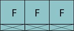 Composition de trois parties fixes avec trois allèges pleines fixes.