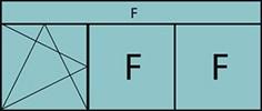 Composition de 3 parties avec un vantail en ouverture à la française à gauche oscillo-battante – grille de ventilation BASIC AIR PLUS, deux parties fixes et imposte vitrée fixe sur toute la largeur