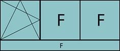Composition de 3 parties avec un vantail en ouverture à la française à gauche oscillo-battante - grille de ventilation BASIC AIR PLUS, deux parties fixes et allège vitrées fixe sur toute la largeur