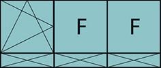 Composition de trois parties avec un vantail en ouverture à la française à gauche oscillo-battante – grille de ventilation BASIC AIR PLUS, deux parties fixes et trois allèges pleines fixes