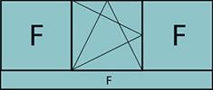 Composition de 3parties avec 2fixes latéraux, 1vantail au milieu avec ouverture à la française à gauche oscillo-battante, grille de ventilation BASIC AIR PLUS & allège vitrée fixe sur toute la largeur