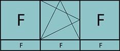 Composition de 3 parties avec deux fixes latéraux, un vantail au milieu avec ouverture à la française à gauche oscillo-battante – grille de ventilation BASIC AIR PLUS et trois allèges vitrées fixes