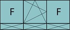 Composition de 3parties avec 2fixes latéraux, 1vantail au milieu avec ouverture à la française à gauche oscillo-battante – grille de ventilation BASIC AIR PLUS et trois allèges pleines fixes