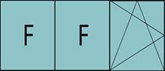 Composition de trois parties avec deux fixes à gauche et un vantail à droite avec ouverture à la française à gauche oscillo-battante - grille de ventilation BASIC AIR PLUS