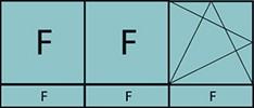 Composition de 3parties avec deux fixes à gauche, un vantail à droite avec ouverture à la française à gauche oscillo-battante - grille de ventilation BASIC AIR PLUS et trois allèges vitrées fixes