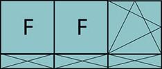 Composition de trois parties avec deux fixes à gauche, un vantail à droite avec ouverture à la française à gauche oscillo-battante - grille de ventilation BASIC AIR PLUS et trois allèges pleines fixes
