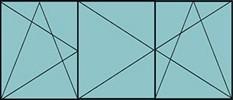 Composition de 2parties avec 1vantail à gauche en ouverture à la française à gauche oscillo-battante – grille de ventilation BASIC AIR PLUS & 2vantaux avec ouverture à la française oscillo-battante