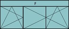 Composition 2parties avec 1vtl à gauche ouverture à la française à gauche oscillo-battante - grille de ventilation BASIC AIR PLUS, 2vtx ouverture à la française oscillo-battante& 1imposte vitrée fixe
