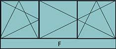 Composition de 3parties: 1vtl à gauche ouverture à la française à gauche oscillo-battante, 2vtx ouverture à la française oscillo-battante - grille de ventilation BASIC AIR PLUS & allège vitrée fixe