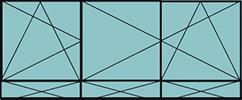 Composition de 2parties: 1vtl à gauche ouverture à la française à gauche oscillo-battante, 2vtx ouverture à la française oscillo-battante, grille de ventilation BASIC AIR PLUS & 3allèges pleines fixes