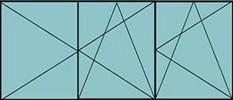Composition de 2parties : 2vantaux à gauche en ouverture à la française oscillo-battante et 1vantail à droite ouverture à la française à droite oscillo-battante - grille de ventilation BASIC AIR PLUS