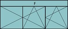 Compo de 2parties : 2vtx à gauche ouverture à la française oscillo-battant, 1vtl à droite ouverture à la française à droite oscillo-battant, grille de ventilation BASIC AIR PLUS & imposte vitrée fixe