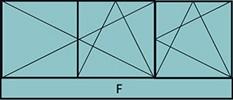 Composition de 3parties : 2vtx à gauche ouverture à la française oscillo-B, 1vantail à droite ouverture à la française à droite oscillo-B, grille de ventilation BASIC AIR PLUS & 1allège vitrée fixe