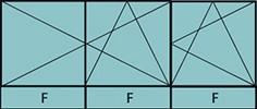 Composition de 2parties : 2vtx à gauche ouverture à la française oscillo-B, 1vantail à droite ouverture à la française à droite oscillo-B, grille de ventilation BASIC AIR PLUS & 3allèges vitrées fixes