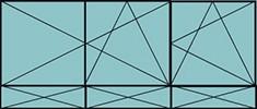 Composition 2 parties : 2vtx à gauche ouverture à la française oscillo-B, 1vantail à droite ouverture à la française à droite oscillo-B, grille de ventilation BASIC AIR PLUS & 3allèges pleines fixes