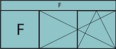 Composition de deux parties avec un fixe à gauche, deux vantaux en ouverture à la française oscillo-battant – grille de ventilation BASIC AIR PLUS et imposte vitrée fixe sur toute la largeur