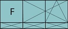 Composition de deux parties avec un fixe à gauche, deux vantaux en ouverture à la française oscillo-battant – grille de ventilation BASIC AIR PLUS et trois allèges pleines fixes.