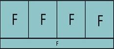Composition de quatre parties fixes avec allège vitrée fixe sur toute la largeur