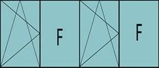 Composition de 4parties : 1vtl à gauche ouverture à la française à gauche oscillo-B, 1fixe, 1vantail ouverture à la française à gauche oscillo-B, grille de ventilation BASIC AIR PLUS & 1fixe à droite