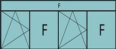 Composition 4parties:1vtl à gauche ouverture à la française à gauche oscillo-B, 1fixe, 1vtl ouverture à la française à gauche oscillo-B, grille de ventilation BASIC AIR PLUS 1fixe&imposte vitrée fixe