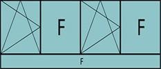 Composition 4parties:1vtl à gauche ouverture à la française à gauche oscillo-B, 1fixe, 1vtl ouverture à la française à gauche oscillo-B, grille de ventilation BASIC AIR PLUS 1fixe &imposte vitrée fixe