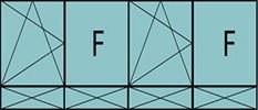 Compo de 4parties:1vtl à gauche ouverture à la française à gauche oscillo-B, 1fixe,1vtl ouverture à la française à gauche oscillo-B, grille de ventilation BASIC AIR PLUS,1fixe&4allèges pleines fixes
