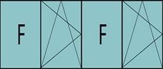 Composition 4parties : 1fixe à gauche, 1vantail ouverture à la française à gauche oscillo-B, 1fixe & 1vantail à droite ouverture à la française à gauche oscillo-B, grille de ventilation BASIC AIR PLUS