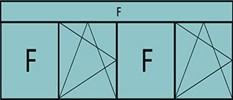 Compo de 4parties:1fixe à gauche,1vtl ouverture à la française à gauche oscillo-B, 1fixe,1vantail ouverture à la française à gauche oscillo-B, grille de ventilation BASIC AIR PLUS &imposte vitrée fixe