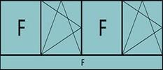 Compo de 5parties: 1fixe à gauche,1vtl ouverture à la française à gauche oscillo-B, 1fixe,1vtl ouverture à la française à gauche oscillo-B, grille de ventilation BASIC AIR PLUS & 1allège vitrée fixe