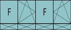 Compo de 4parties:1fixe à gauche,1vtl ouverture à la française à gauche oscillo-B, 1fixe,1vtl ouverture à la française à gauche oscillo-B, grille de ventilation BASIC AIR PLUS & 4allèges pleines fixes