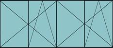 Composition de deux parties de deux vantaux avec ouverture à la française oscillo-battante - grille de ventilation BASIC AIR PLUS