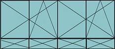 Composition de deux parties de deux vantaux avec ouverture à la française oscillo-battante - grille de ventilation BASIC AIR PLUS et quatre allèges vitrées fixes