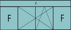 Composition de 3 parties : 2 fixes latéraux, 2 vantaux au milieu ouverture à la française oscillo-battante - grille de ventilation BASIC AIR PLUS & imposte vitrée fixe sur toute la largeur