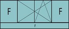 Composition de 3 parties : 2 fixes latéraux, 2 vantaux au milieu en ouverture à la française oscillo-battante – grille de ventilation BASIC AIR PLUS & allège vitrée fixe sur toute la largeur