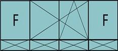 Composition de 3 parties : 2 fixes latéraux, 2 vantaux au milieu ouverture à la française oscillo-battante - grille de ventilation BASIC AIR PLUS et quatre allèges pleines fixes
