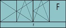 Compo de 3parties:2vantaux à gauche ouverture à la française oscillo-B, 1vantail ouverture à la française à droite oscillo-B, grille de ventilation BASIC AIR PLUS, 1fixe à droite & 1allège vitrée fixe