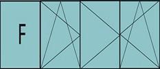 Compo de 3 parties : 1fixe à gauche,1vantail ouverture à la française à gauche oscillo-battante, 2vantaux à droite ouverture à la française oscillo-battante, grille de ventilation BASIC AIR PLUS