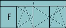 Compo de 4parties:1fixe à gauche, 1vtl ouverture à la française à gauche oscillo-B, ,2vantaux à droite ouverture à la française oscillo-B, grille de ventilation BASIC AIR PLUS & 1imposte vitrée fixe