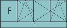 Compo de 3parties : 1fixe à gauche,1vantail ouverture à la française à gauche oscillo-B,2vantaux à droite ouverture à la française oscillo-B, grille de ventilation BASIC AIR PLUS & 1allège vitrée fixe