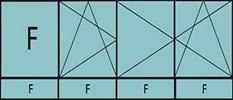 Compo de 4parties:1fixe à gauche,1vtl ouverture à la française à gauche oscillo-B, 2vantaux à droite ouverture à la française oscillo-B, grille de ventilation BASIC AIR PLUS & 4 allèges vitrées fixes