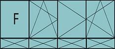Compo de 4parties:1fixe à gauche,1vtl ouverture à la française à gauche oscillo-B, 2vantaux à droite ouverture à la française oscillo-B, grille de ventilation BASIC AIR PLUS & 4allèges pleines fixes