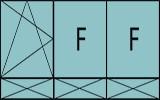 Compo de trois parties avec un vantail à gauche en ouverture à la française à gauche oscillo-battante – grille de ventilation BASIC AIR PLUS, deux fixes et soubassements pleins