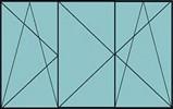 Compo de 2 parties avec un vantail à gauche en ouverture à la française à gauche oscillo-battante et 2 vantaux en ouverture à la française oscillo-battante – grille de ventilation BASIC AIR PLUS