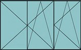 Compo de 2 parties : 2 vantaux à gauche ouverture à la française oscillo-battante & 1 vantail ouverture à la française à droite oscillo-battante – grille de ventilation BASIC AIR PLUS