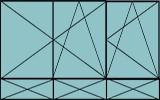 Compo de 2 parties:2vantaux à gauche ouverture à la française oscillo-battante, 1vantail ouverture à la française à droite oscillo-battante, grille de ventilation BASIC AIR PLUS & soubassements pleins