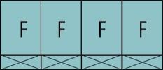 Composition de quatre parties fixes avec soubassements pleins.