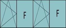 Compo de 4parties : 1vantail à gauche ouverture à la française à gauche oscillo-B,1fixe, 1vantail ouverture à la française à gauche oscillo-B, grille de ventilation BASIC AIR PLUS & 1fixe à droite