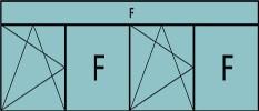Compo de 5parties : 1vtl à gauche ouverture à la française à gauche oscillo-B, 1fixe, 1vtl ouverture à la française à gauche oscillo-B, grille de ventilation BASIC AIR PLUS,1fixe & imposte vitrée fixe