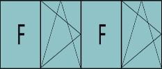 Compo de 4parties : 1fixe à gauche,1vantail ouverture à la française à gauche oscillo-B,1fixe & 1vantail à droite ouverture à la française à gauche oscillo-B, grille de ventilation BASIC AIR PLUS