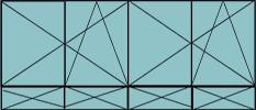Composition de deux parties de deux vantaux avec ouverture à la française oscillo-battante - grille de ventilation BASIC AIR PLUS et soubassements pleins